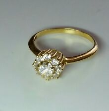 14K YELLOW GOLD WHITE TOPAZ RING SIZE 7.5/ Anillo de Oro
