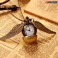 Silver Wings Harry Potter Quartz Pocket Watch Gift Pendant Chain Necklace Retro
