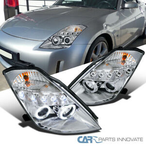 For 03-05 Nissan 350Z Z33 Fairlady Clear LED Dual Halo Projector Headlights Lamp