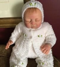 SWEET Knit Baby Doll Outfit For Reborn Infant Newborn WHITE