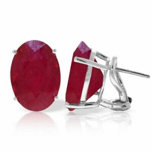 Genuine Red Rubies Oval Gemstones Solitaires French Clip Earrings 14K Solid Gold