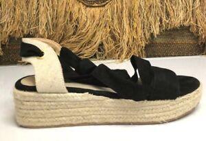 Justfab Womens Briella  Black Espadrille Strappy Wedge Shoe SZ 8.5