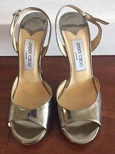 Jimmy Choo Silver Slingback Open Toe Stiletto Heels Size 37.5 Metallic