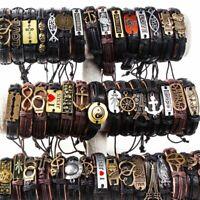20pcs Wholesale lots Mixed Styles Vintage Biker leather Cuff Bracelets Jewelry