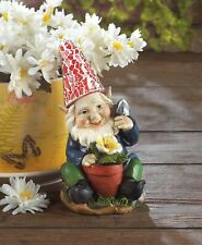 """Happy Grandpa Gardening Gnome with Solar Powered Lightup Hat 7.25"""" tall New"""