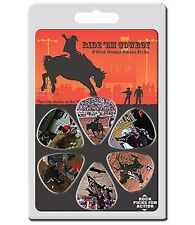6 Pack Motion Guitar Picks COWBOY RODEO Horse Bull Bucking Bronco Medium Pick