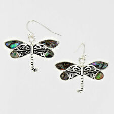 Dragonfly Dangle Drop Abalone Shell Silver Tone Women Fashion Jewelry Earrings