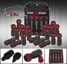 M12 X 1.5MM 20PC CNC WHEEL RIMS LUG NUTS FORMULA STYLE GUNMETAL RED W/ KEY HONDA
