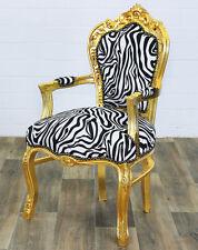 NUOVO BAROCCO armlehnstuhl ZEBRA ORO più comodo Baroque Chair Nero-Bianco A Strisce