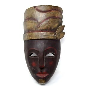 """Vintage Indonesian Wooden Tribal Tiki Mask Brown 15"""" Tall Hand-Painted/carved"""
