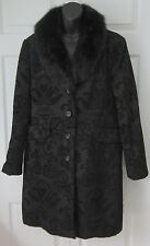 Massini Wms Black Paisley Print w/Faux Fur XL *SHARP*