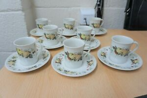 ROYAL DOULTON VINTAGE, MIRAMONT, SET OF 8 COFFEE CUPS & SAUCERS