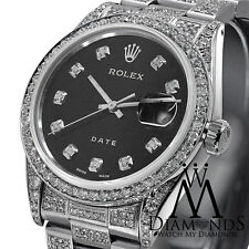 Stainless Steel Diamond Rolex Datejust 34mm Black Diamond Accent Dial Watch