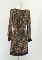 Tahari ASL Levine Womens Leopard Tiger Print Lace Trim Shift Dress Belted Size 4