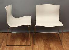Pair 1985 Knoll Handkerchief Chrome White Massimo Lella Vignelli MCM Chairs