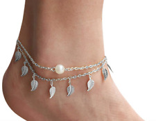 Women Fashion Two Silver Anklet Chain Ankle Bracelet Sandal Foot Beach Jewelry