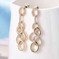 Women White Cubic Zirconia Crystal Long Drop Stud Gold Filled Earrings Jewellery