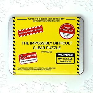 The Impossibly Difficult Clear Blank Acrylic Puzzle -80 Pieces- Lockdown Edition