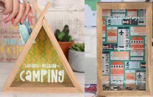 Money Box Tin Saving Cash PIggy Bank Box Camping Teepee Adventure Begin Gift