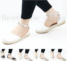 Womens Ladies Flat Espadrilles Ankle Studded Strap Summer Holiday Sandals Shoes