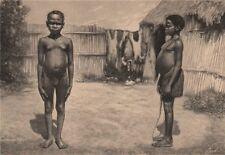 Akka/Aka man and woman. Congo. Congo Basin 1885 old antique print picture