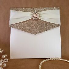 Lizzy champagne glitter and rose gold pocket wedding invitation