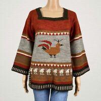 Vintage Ades Rooster Bird Print Square Neck Pullover Sweater Jumper MEDIUM