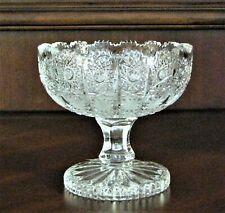 "Bohemia Czech Vintage Crystal Pedestal Bowl, 4.5"" Wide, hand cut, Queen Lace"