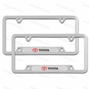 For 2PCS TOYOTA Silver Stainless Steel Metal License Plate Frame New
