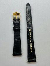 Rolex Genuine Vintage leather strap watch Dark Blue Ladies 13mm log 10mm buckle