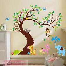 XXL Wandtattoo Baum Wald Tiere Dschungel Eule Affe Blumen Wanddeko Kinderzimmer