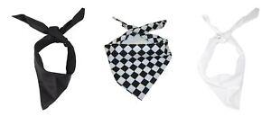 Chefs Neckerchief Bandana Polycotton Black White Scarf Headscarf Headband 1 or 5