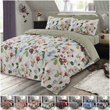 Cotton Rich Duvet Cover Pillowcase Fitted Sheet Bedding Set Double & King Size