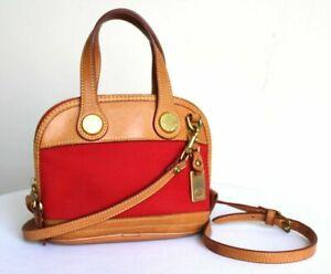 Vintage Dooney & Bourke Mini Zip Zip Red Canvas Tan Leather Crossbody Bag
