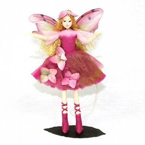 Fairy Figurine Hortensia: Ethically made, Posable Fairy w/ Stand. Tassie Design