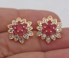 18K Gold Filled -Multilayer Ruby Flower Earrings Petal Snowflake Ear Stud Girls