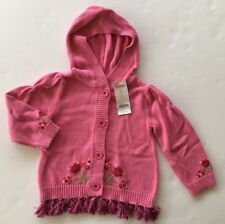 NWT Gymboree Peruvian Doll 2T Pink Tassel Embroidered Hoodie Cardigan Sweater