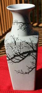 Beautiful Vintage Japanese Porcelain Vase Gray w Painted Black & White Blossoms