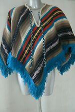 Vintage à rayures à franges poncho 1960/années 70 taille unique
