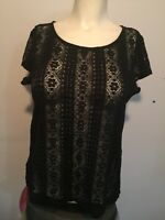 ANN TAYLOR LOFT BLACK LACE BLOUSE SCOOP NECK SHORT SLEEVES EXPOSED ZIP BACK MP
