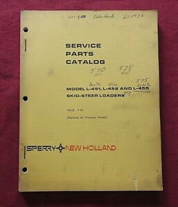 ORIGINAL NEW HOLLAND L-451 L-452 L-455 SKID STEER LOADER TRACTOR PARTS MANUAL