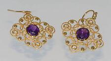 Earrings Gold Plated Amethyst & White Topaz Dangle Hook Handmade Womens Jewelry