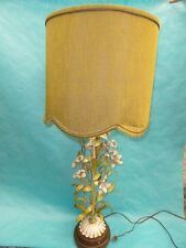 "VINTAGE 60's ITALIAN TOLEWARE PAINTED FLORAL TOLE TABLE LAMP ~ 40 ""   FABULOUS"