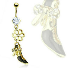 Gold Plated 316L Surgical Steel Navel Ring CZ Flower & CZ Bow Tie Dress Shoe