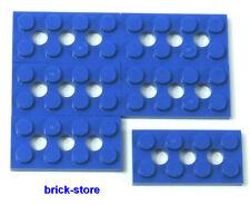 LEGO / 2x4 TECHNIQUE / plaques bleu avec trou / 6 pièces