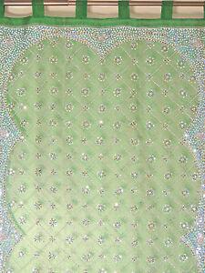 "Green Curtain Panel - Zardozi Embroidered Beaded India Window Treatments 92"""