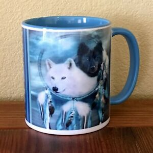SW 11oz Coffee Mug 2-Sided Wolves, Shakespeare Quote,Light Blue Inside & Handle
