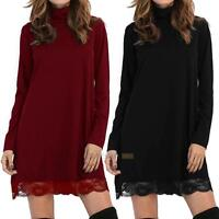 Winter Spring Women Long Sleeve Turtle Neck Party Sweater Lace Short Mini Dress