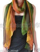Women Fashion Pretty Long Soft Gradient Chiffon Scarf Wrap Shawl Stole Scarves