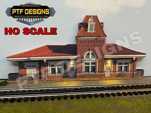 HO Scale Train Station # 2 Trackside Building Flat w/LED Background - walthers